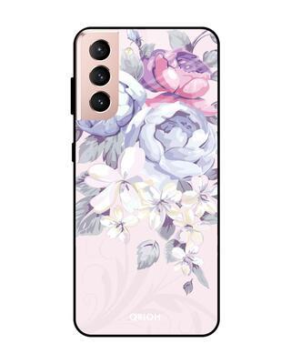 Shop Qrioh Elegant Floral Glass Case For Samsung Galaxy S21-Front