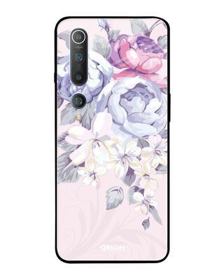Shop Qrioh Xiaomi Mi 10 Elegant Floral Glass Case-Front