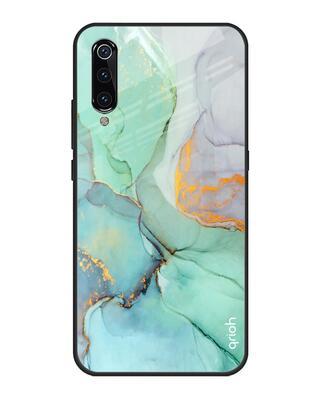 Shop Qrioh Green Marble Glass case for Xiaomi Mi A3-Front