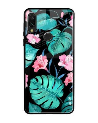 Shop Qrioh Tropical Leaves & Pink Flowers Glass Case for Xiaomi Redmi Note 7S-Front