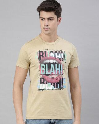 Shop Quancious Mens Beige Organic Cotton Half Sleeves T-Shirt-Front
