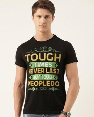 Shop Quancious Mens Black Organic Cotton Half Sleeves T-Shirt-Front