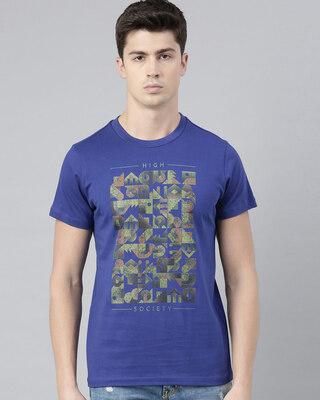 Shop QUANCIOUS Mens Blue Organic Cotton Half Sleeves T-Shirt-Front