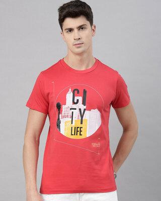 Shop QUANCIOUS Mens Coral Organic Cotton Half Sleeves T-Shirt-Front