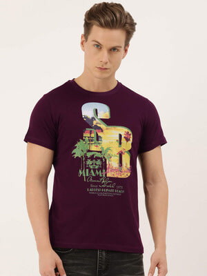Shop QUANCIOUS Mens Maroon Organic Cotton Half Sleeves T-Shirt-Front