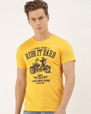 Shop QUANCIOUS Mens Mustard Organic Cotton Half Sleeves T-Shirt-Front