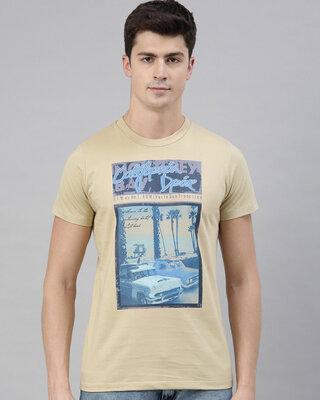 Shop Quancious Mens Plus Size Beige Organic Cotton Half Sleeves T-Shirt-Front