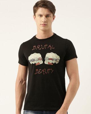 Shop Quancious Mens Plus Size Black Organic Cotton Half Sleeves T-Shirt-Front