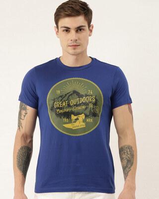 Shop Quancious Mens Plus Size Blue Organic Cotton Half Sleeves T-Shirt-Front