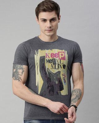 Shop Quancious Mens Plus Size Charcoal Organic Cotton Half Sleeves T-Shirt-Front