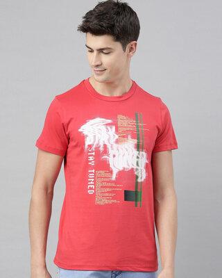 Shop QUANCIOUS Mens Plus Size Coral Organic Cotton Half Sleeves T-Shirt-Front