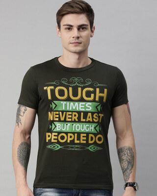 Shop QUANCIOUS Mens Plus Size Green Organic Cotton Half Sleeves T-Shirt-Front