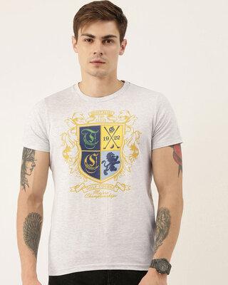 Shop QUANCIOUS Mens Plus Size Grey Melange Organic Cotton Half Sleeves T-Shirt-Front