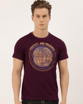 Shop QUANCIOUS Mens Plus Size Maroon Organic Cotton Half Sleeves T-Shirt-Front