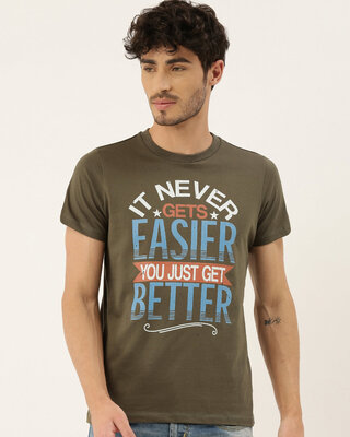 Shop QUANCIOUS Mens Plus Size Olive Organic Cotton Half Sleeves Graphic Printed T-Shirt-Front