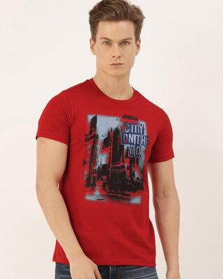 Shop Quancious Mens Plus Size Red Organic Cotton Half Sleeves T-Shirt-Front