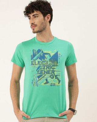 Shop QUANCIOUS Mens Plus Size Teal Organic Cotton Half Sleeves T-Shirt-Front