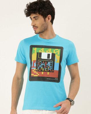 Shop QUANCIOUS Mens Plus Size Turquoise Blue Organic Cotton Half Sleeves T-Shirt-Front