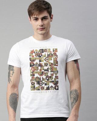 Shop QUANCIOUS Mens Plus Size White Organic Cotton Half Sleeves T-Shirt-Front