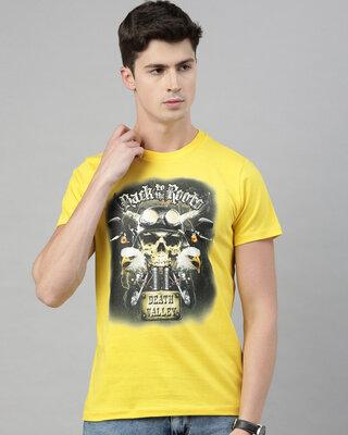 Shop QUANCIOUS Mens Plus Size Yellow Organic Cotton Half Sleeves T-Shirt-Front