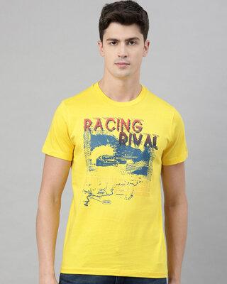 Shop QUANCIOUS Mens Yellow Organic Cotton Half Sleeves T-Shirt-Front