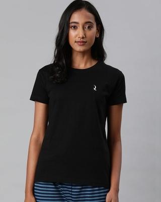 Shop Quarantine Black Solid T-Shirt-Front