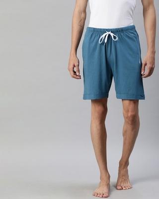 Shop Quarantine Blue Solid Shorts-Front