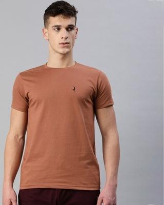 Shop Quarantine Brown Solid T-Shirt-Front