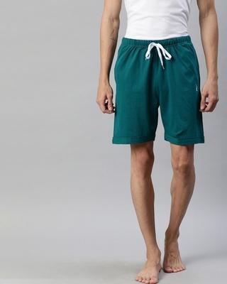 Shop Quarantine Green Solid Shorts-Front
