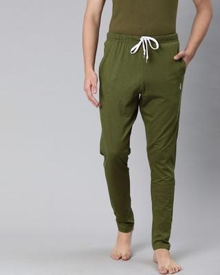 Shop Quarantine Green Solid Trackpant-Front