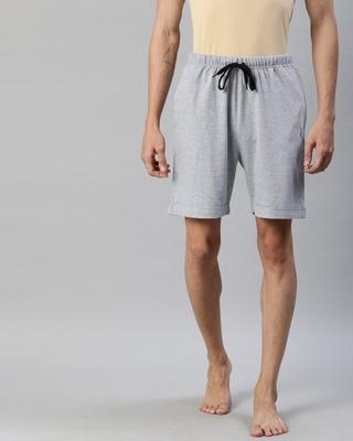 Shop Quarantine Grey Solid Shorts 1-Front