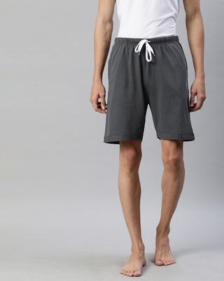 Shop Quarantine Grey Solid Shorts-Front
