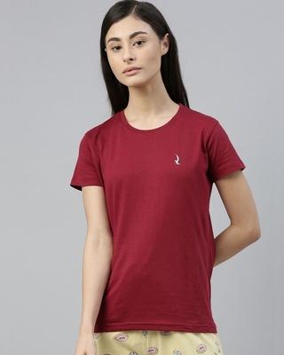 Shop Quarantine Maroon Solid T-Shirt-Front