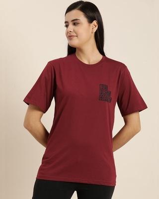 Shop Quarantine Maroon Typographic T-Shirt-Front