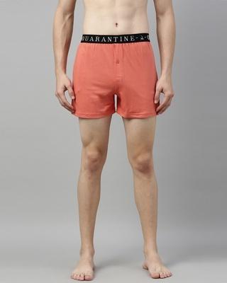 Shop Quarantine Orange Solid Boxer-Front