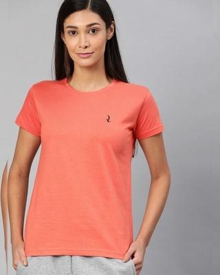 Shop Quarantine Orange Solid T-Shirt-Front