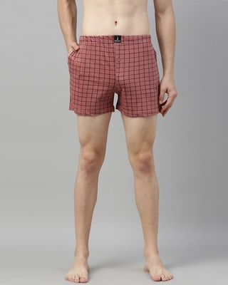 Shop Quarantine Pink Checked Boxer-Front