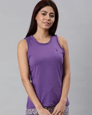 Shop Quarantine Purple Solid T-Shirt-Front