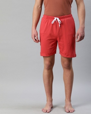 Shop Quarantine Red Solid Shorts-Front