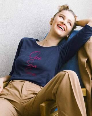 Shop Que Sera Sera Round Neck 3/4th Sleeve T-Shirt-Front