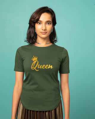 Shop Queen Gold Print Basic Round Hem T-Shirt-Front