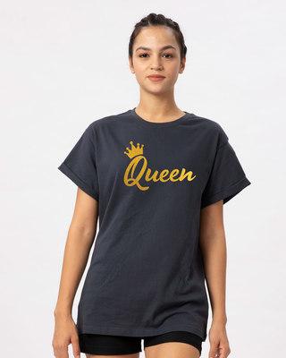 Shop Queen Gold Print Boyfriend T-Shirt-Front