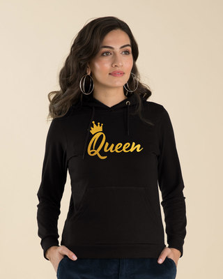 Shop Queen Gold Print Fleece Hoodies-Front
