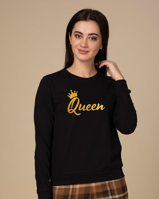 Shop Queen Gold Print Fleece Sweater-Front