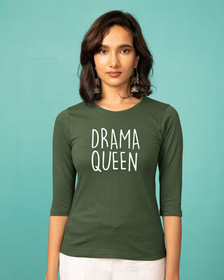 Shop Queen Of Drama Round Neck 3/4th Sleeve T-Shirt-Front