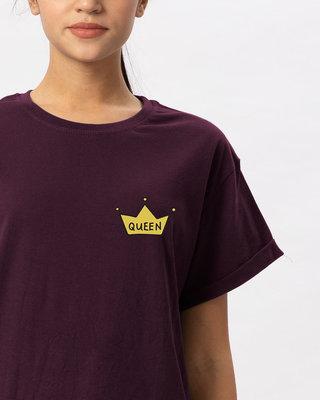 Shop Queen Pocket Print Boyfriend T-Shirt-Front