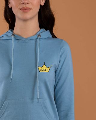 Shop Queen Pocket Print Fleece Hoodies-Front