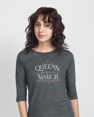 Shop Queens Are Born 3/4th Sleeve T-Shirt-Front