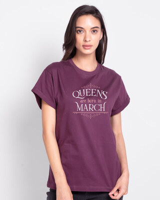 Shop Queens Are Born  Boyfriend T-Shirt  Deep Purple-Front