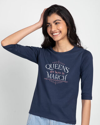 Shop Queens Are Born Round Neck 3/4th Sleeve T-Shirt-Front